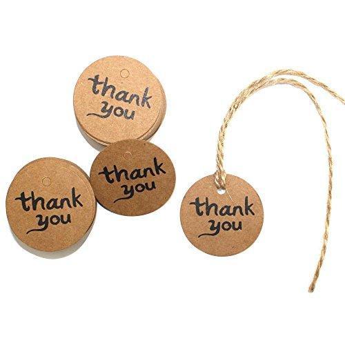 DECORA 100 Pieces Thank You Brown Kraft Paper Tags Bonbonniere Favor Gift Tag Labels With Jute Twines for Christmas and New Year (Gift Tags Felt)