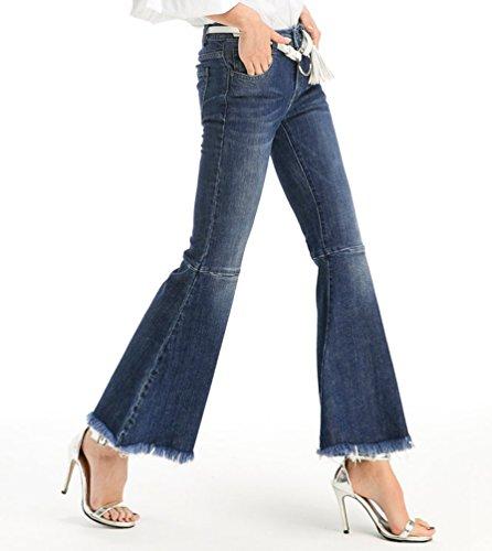 7e70298913182 ZhiYuanAN Mujer Pantalon Vaquero Campana Moda Talle Alto Push Up Denim Jeans  Casual Mezclilla Pantalones Vaqueros Anchos Azul Oscuro M  Amazon.es  Ropa  y ...
