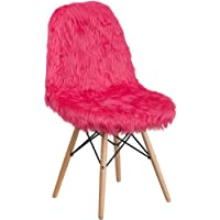Contemporary Funky Retro Hot Pink Shaggy Accent Dining Chair with Wood Base
