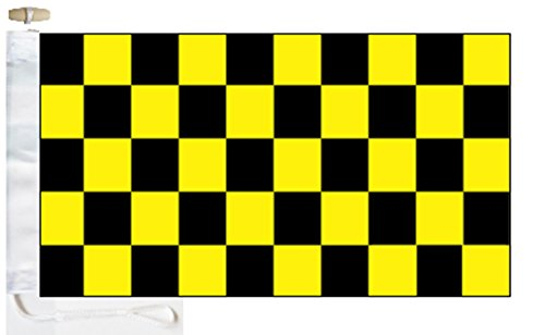 Chequered Black and Yellow Check Boat Flag - 1 Yard  - Rope