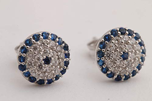 Nazar Turkish Handmade Jewelry Evil Eye Style Round Cut Sapphire Topaz 925 Sterling Silver Stud Earrings