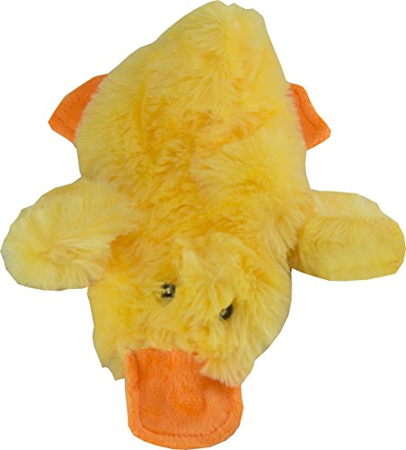 Hummingbird 8-Inch Small Duck Plush No-Stuffing Dog Toy Squeak Toy (Yellow)