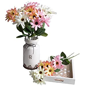 SKFLO Artificial Flower Spring 9 Color Daisy White Pink Sunset Red Arrangement Table Centerpiece Silk Fake Faux Flowers with Greenery Leaves Stems Ideas DIY Home Decor Party Wedding Bridal Bouquet 36