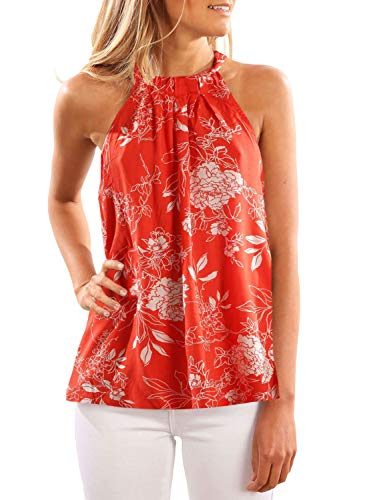 FARYSAYS Women's Summer Boho Floral Printed High Neck Racerback Tank Tops Sleeveless Shirts Blouses Orange Small ()
