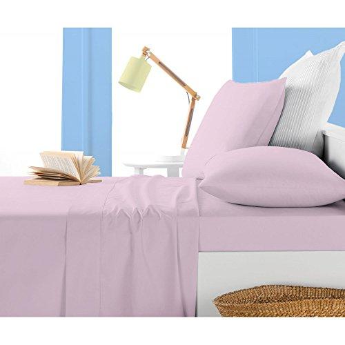 Noble Comfort Linen 3 Pcs Drap-Housse Empereur Taille avec Poche de 20 cm (20,3 cm) de Profondeur en Neuf Couleur Rose et Motif Massif 100% Coton égypcravaten (300 Fils Compte)