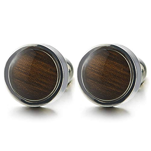 8MM Mens Womens Stainless Steel Circle Stud Earrings with Wood, Screw Back, 2 pcs