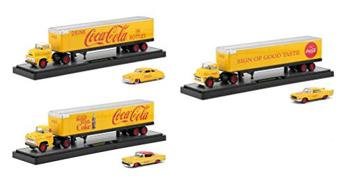 (Auto Haulers Coca-Cola Release Set of 3 Trucks Yellow 1/64 Diecast Models by M2 Machines 56000-YR01)
