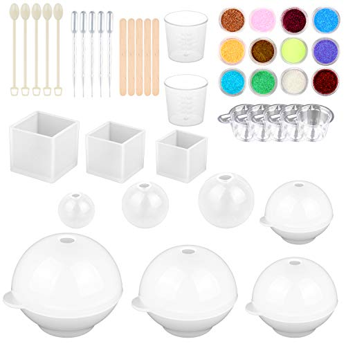SUBANG 10 Pack Jewelry Casting Molds Silicone Resin Jewelry Molds with 5 Wooden Stick, 5 Plastic Spoons, 5 Plastic Droppers, 7 Cups and 1 Glitter Powder Sequins