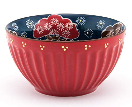 - Mira Designs Earthenware Latte Bowls 25 fl oz Cereal Bowl Soup Salad Rice Pasta Floral Design 6 inch Diameter (Red)