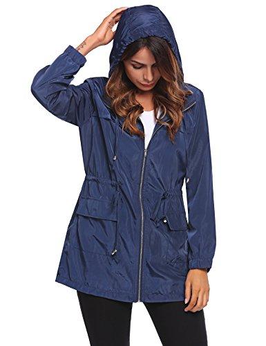 Zeagoo Women's Lightweight Hooded Waterproof Active Outdoor Rain Jacket(Large, Navy (Lightweight Lined Windbreaker)
