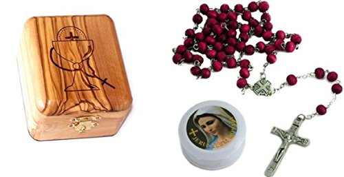 Bethlehem Gifts TM Olive Wood First Communion Jewelry Box with Rosary Set by (Red Rose Rosary)