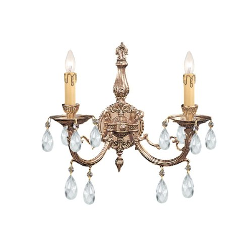 - Crystorama 492-OB-CL-SAQ Crystal Accents Two Light Sconces from Etta collection in Brassfinish, 7.00 inches