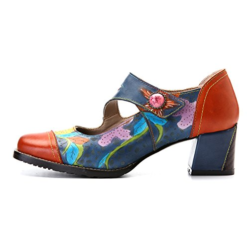 gracosy Leather Pumps, Women's Wedge Sandals Mary Jane Shoes Wedding Party Non Slip Buckle Ankle Shoes Orange Red