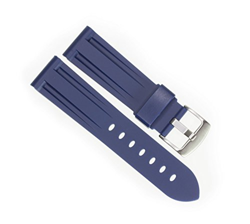 New 22mm Soft Rubber Strap Navy Blue Diver Watch Band fits PANERAI with Brush Stainless Buckle ()