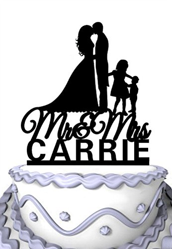 (Meijiafei Personalized Wedding Cake Topper -Customized Your Name Kissing Couple with Children Silhouette Family Party Supply)