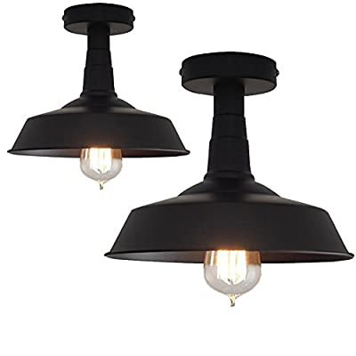 "Retro Metal Bowl Chandelier, Motent Industrial Vintage Dome Flush Mounted Ceiling Lampshade Antique Iron Wrought 1-light Pendant Lighting Fixture for Corridor Bedroom Basement - 10.2"" Dia Matte Black"