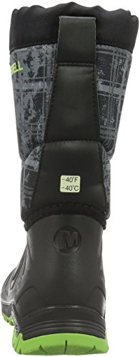 Merrell Snow Quest Waterproof, Zapatos de High Rise Senderismo Para Niños Negro (Black/Green/Printblack/Green/Print)