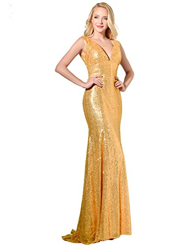 Belle House Long Bridesmaid Wedding Party Gowns Gold Sequins Tank Top Prom Dresses