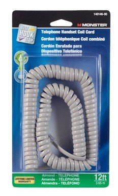 Almond Phone Cord - CORD HANDSET 12' ALMOND by MONSTER JHIU MfrPartNo 140146-00