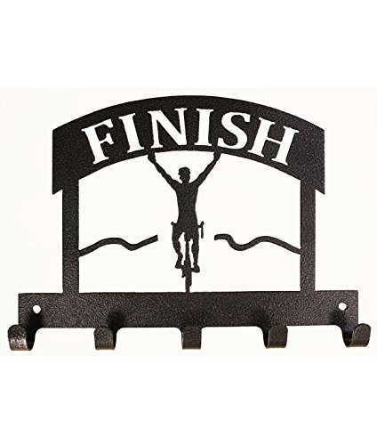 10 inch 5 Hook Finish Line Bike Charcoal Medal Holder by Show Ur Passion