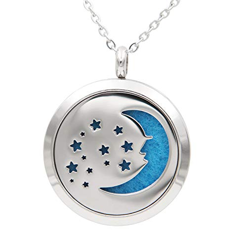 "FANSING Womens Essential Oil Diffuser Necklace, Moon Star Pendant, Stainless Steel, with Refill Pads, Aromatherapy Jewelry, 23.5"" Chain"