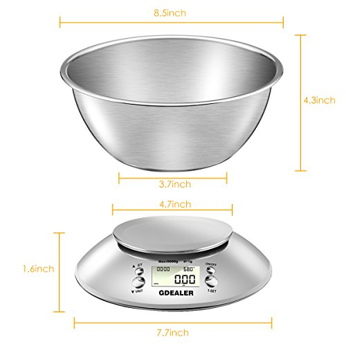 Gdealer Digital Kitchen Scale 11lb 5kg Accuracy Food Scale