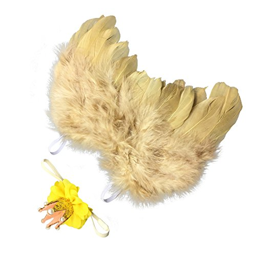 lwingflyer Gold Newborn Baby Feather Angel Wings with Crown Hairband, Halo Set (Gold) ()
