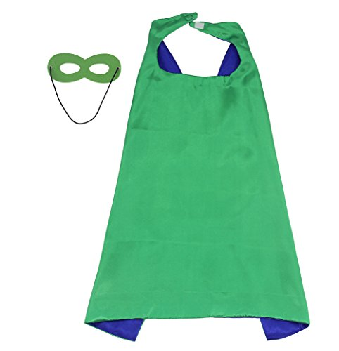 LYNDA SUTTON Boy Superhero Cape,Super Hero Capes for Adults 1 Cape+1 Mask Double Sided Green+Blue Color 43.3