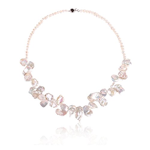 Stacey White Keishi Pearl Necklace Princess Length 19