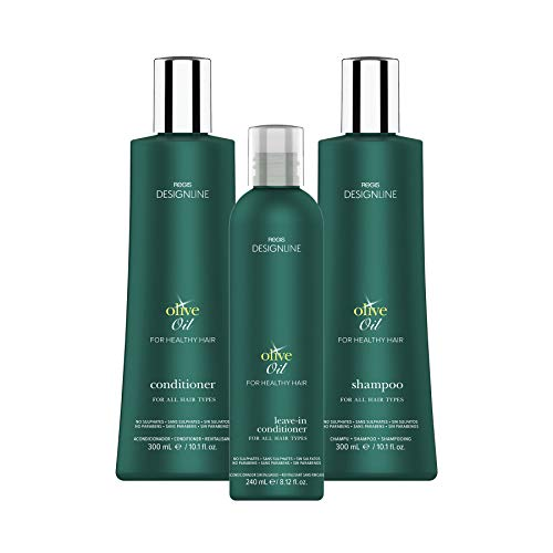 Regis DESIGNLINE - OLIVE OIL TRIO KIT - Shampoo & Conditioner Treatment Restores Dry and Damaged Hair without Build-Up and Protects Against Damage, Dryness, and Color Fading (3 ()