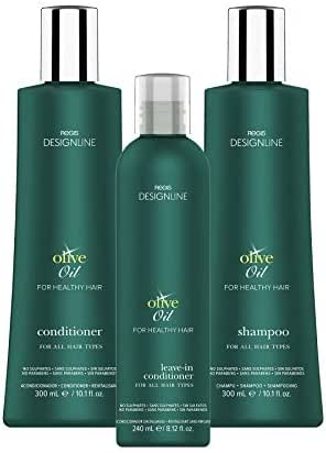 Regis DESIGNLINE - OLIVE OIL TRIO KIT - Shampoo & Conditioner Treatment Restores Dry and Damaged Hair without Build-Up and Protects Against Damage, Dryness, and Color Fading (3 Pack)