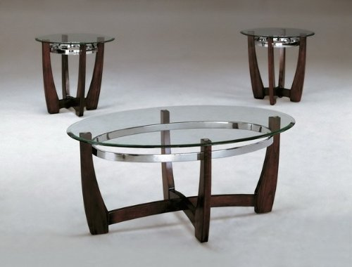 Mitchell Leather Furniture - Brand New 3-pack Mitchell Coffee Table (1)and End Table (2) Cocktail set with 5mm Tampered Glass Table Top