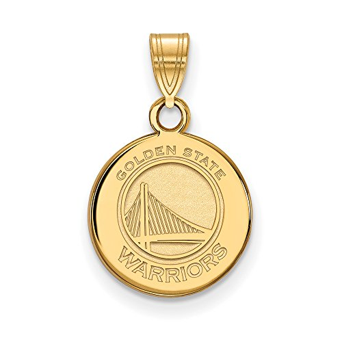 NBA Golden State Warriors Small Disc Pendant in 14K Yellow Gold by LogoArt