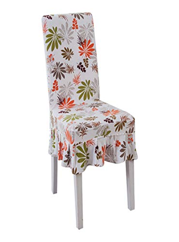 TANGOGO Skirt Chair Covers Polyester Leaves Printed Chair Covers for Banquet Dining Short Skirt Chair Decorative Covers