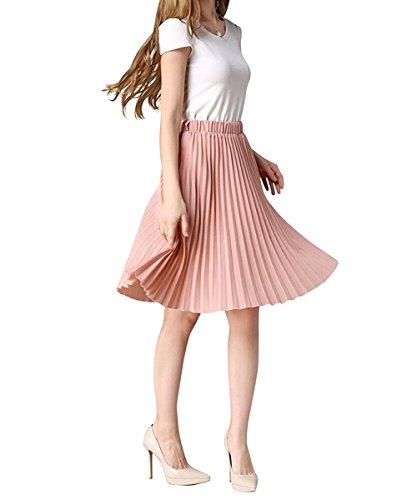 YUNSHANG Women's Simple Retro Dancing Skirt High Waisted Knee Length A line Chiffon Pleated Midi Skirt(Pink) from YUNSHANG