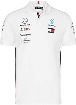 Mercancía oficial de Fórmula 1 - Mercedes AMG Petronas Motorsport - Equipo Camisa polo - Blanco: Amazon.es: Deportes y aire libre