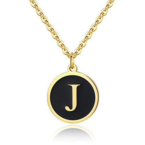 REVEMCN Stainless Steel Alphabet and Bible Verse Proverbs 4:23 Pendant Necklace for Men Women with Keyring and 22'' Chain (Gold-Tone: J) -