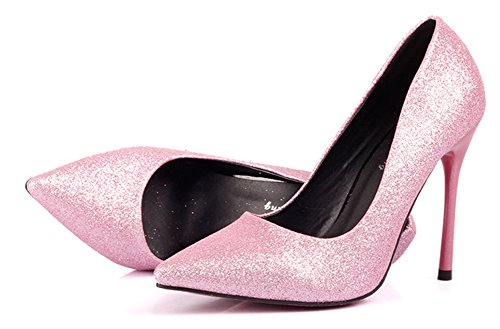 SHOWHOW Womens Sexy Slip On Pointed Toe Party Pump Pink vc2HgTy9