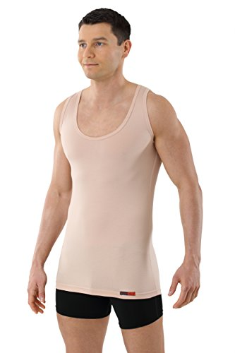 ALBERT KREUZ Trägerunterhemd unsichtbar Business Herrenunterhemd aus Stretch-Baumwolle ohne Arm mit tiefem Rundausschnitt Hautfarbe Nude