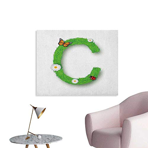 Anzhutwelve Letter C Photographic Wallpaper Capital C with Grass Greenland Spring Flourishing Nature Themed Character The Office Poster Green Multicolor W36 xL24 ()
