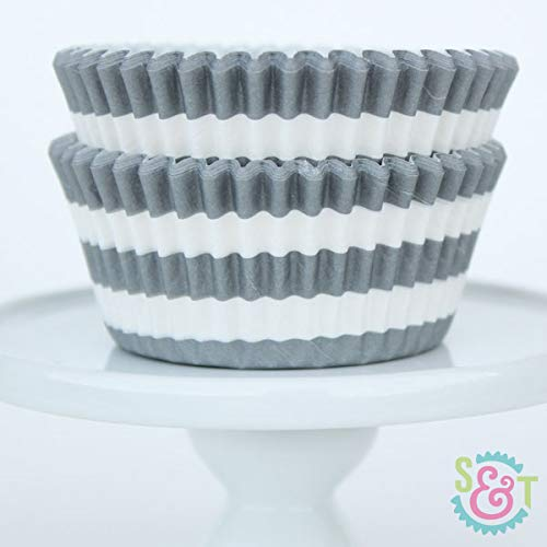 Rugby Stripe BakeBright Greaseproof Cupcake Liners (Gray)