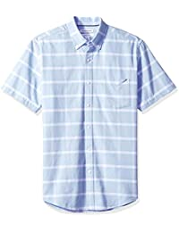 Men's Regular-fit Short-Sleeve Windowpane Pocket Oxford Shirt