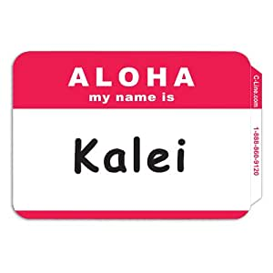 C-Line Pressure Sensitive Peel and Stick Badges, Aloha My Name Is, Red, 3.5 x 2.25 Inches, 100 per Box (92254)