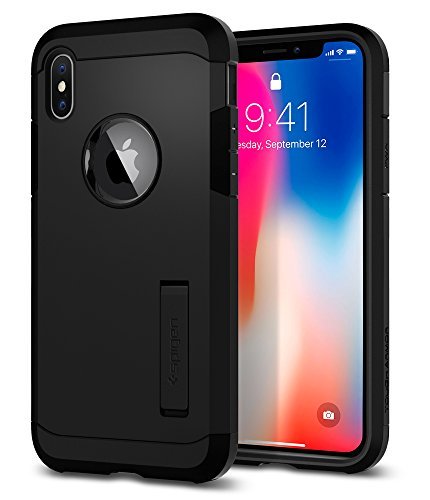 Spigen Tough Armor iPhone X Case with Kickstand and Extreme Heavy Duty Protection and Air Cushion Technology for Apple iPhone X (2017) - Matte Black - Kickstand Case