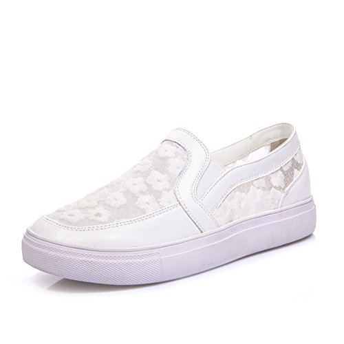 Lucksender Moda Mujer Malla De Flores Superior Comfort Loafer Zapatos Blanco