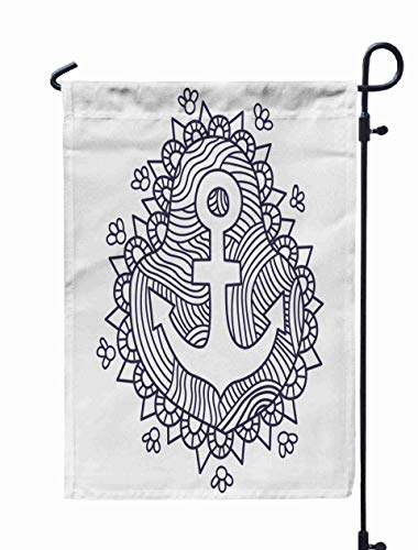 Jacrane Welcome Small Garden Flag 12X18 Inches Doodle Anchor Coloring Pages Double-Sided Seasonal House Yard Flags Decorative