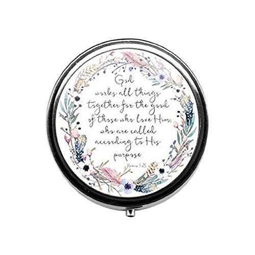 God Works Hard for People who Love him Romans 8 28 Bible Verse Pill Box,Candy Box Christian Jewelry Gift Jewelry]()