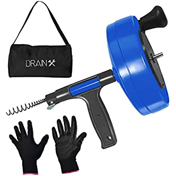 DrainX Power Pro 35-FT Steel Drum Auger Plumbing Snake with Drill Adapter | Heavy Duty Drain Snake Cable with Work Gloves and Storage Bag, Blue