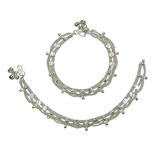 (Ghoomar Wedding Bridal Ethnic Anklet Filigree Silver Tone Indian Payal Women Foot Traditional Jewelry)