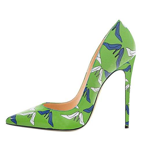 EKS Damen Fashion Print Spitze High Heels Kleid-Partei Hochzeit Pumps Green